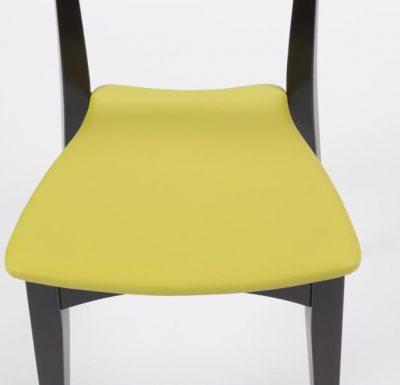 Beech leg frame side chair yellow seat close up