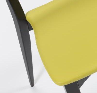 Beech leg frame side chair yellow side close up