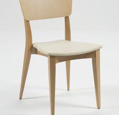 Beech leg frame side chair beige
