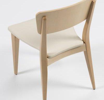 Beech leg frame side chair beige rear above