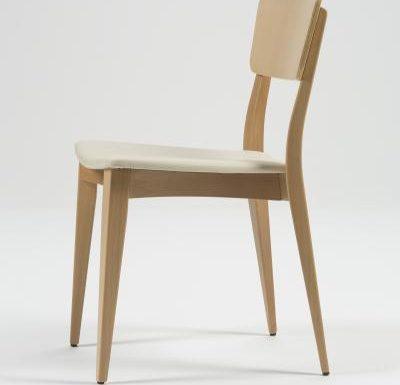 Beech leg frame side chair beige side view
