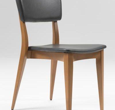 Beech leg frame side chair black side view