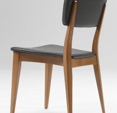 Beech leg frame side chair black rear view