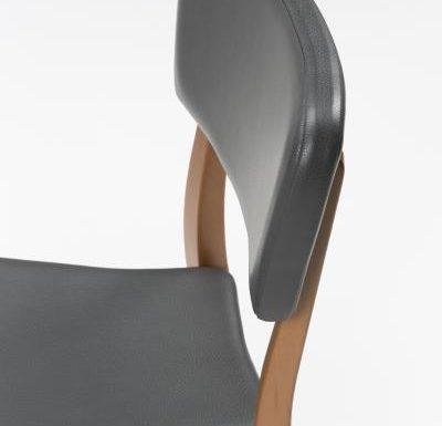 Beech leg frame side chair black close up top