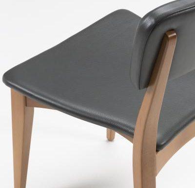 Beech leg frame side chair black close up side