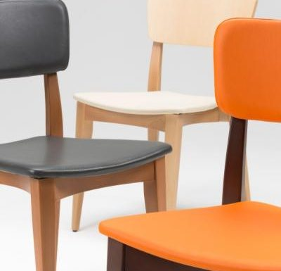 Beech leg frame side chair all colours close up