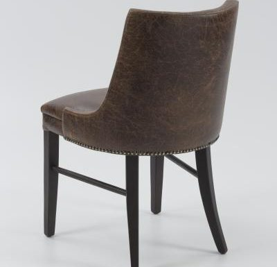 Fine dining chair upholstered seat and back rear view