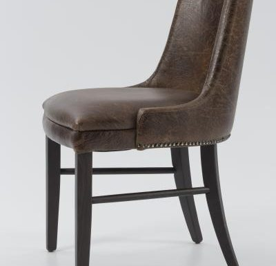 Fine dining chair upholstered seat and back side view