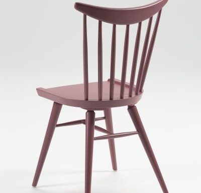 Beech leg frame side chair red rear view