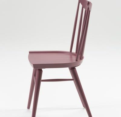 Beech leg frame side chair red side view