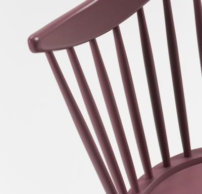 Beech leg frame side chair red close up back