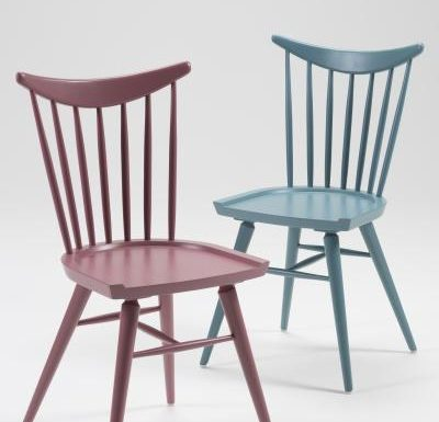 Beech leg frame side chair red and blue front