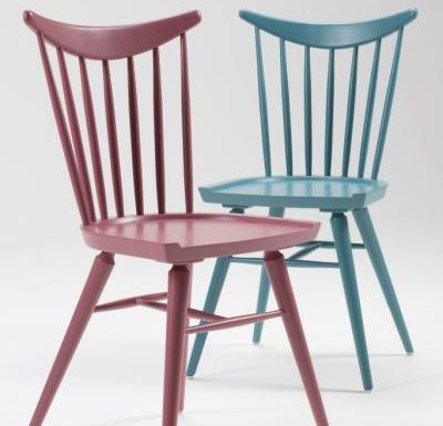 Beech leg frame side chair red and blue close