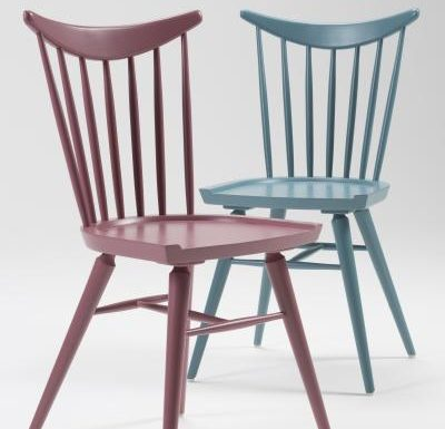 Beech leg frame side chair red and blue close up