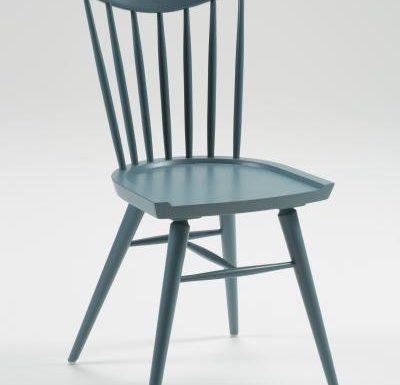 Beech leg frame side chair blue front view