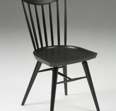 Beech leg frame side chair black front view
