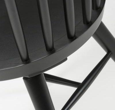 Beech leg frame side chair black rear view close