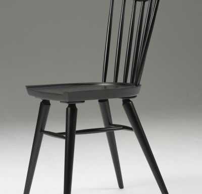 Beech leg frame side chair black side view close