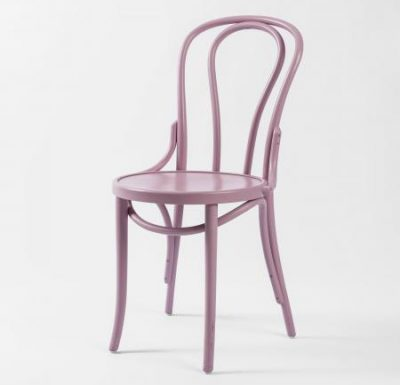 metal side chair with seat pad pink