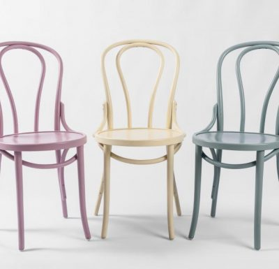 metal side chair with seat pad pink beige and blue