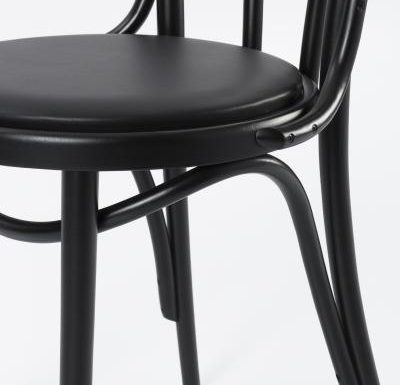 metal side chair with seat pad black side view