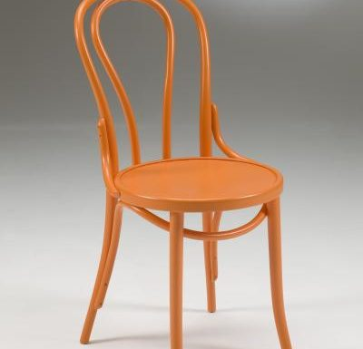 metal side chair with seat pad orange front view