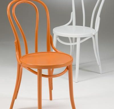 metal side chair with seat pad orange and white