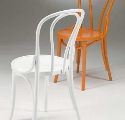 metal side chair with seat pad orange and white back
