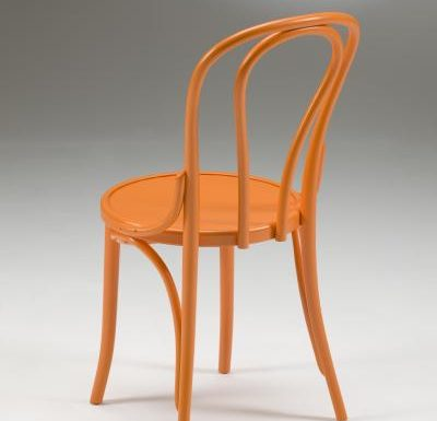 metal side chair with seat pad orange back