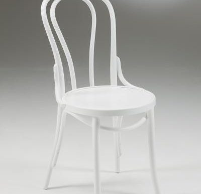 metal side chair with seat pad white front