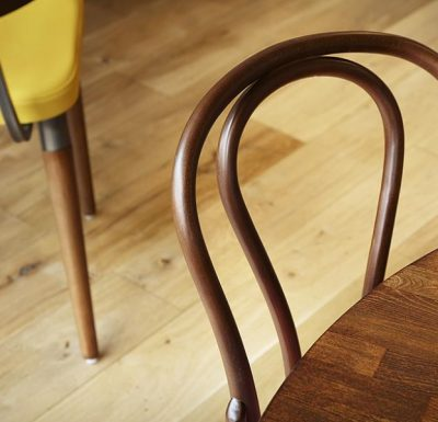 metal side chair with seat pad close up frame