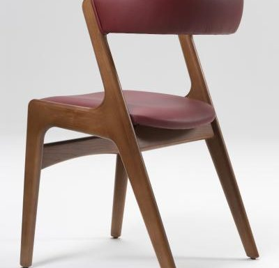Wooden side chair with red upholstery rear view