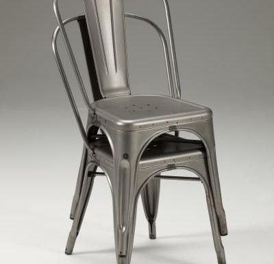 metal frame side chair grey stacked