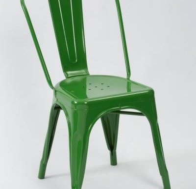 metal frame side chair green front view