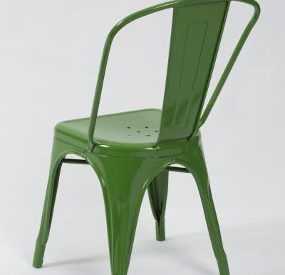 metal frame side chair green rear view