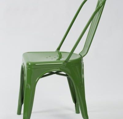 metal frame side chair green side view