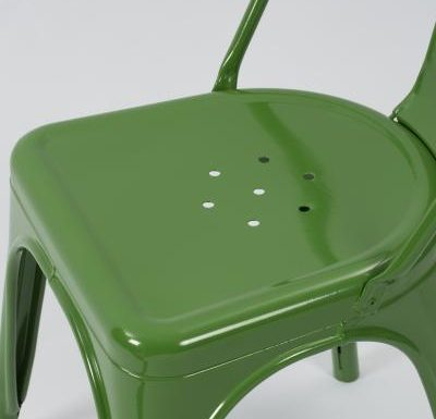 metal frame side chair green close up
