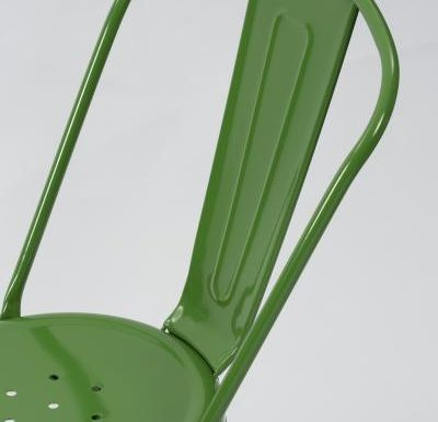 metal frame side chair green close up back