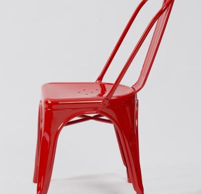 metal frame side chair red side view