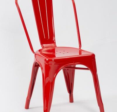metal frame side chair red front view