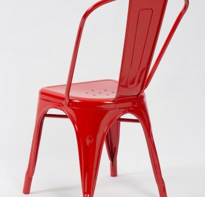 metal frame side chair red rear view