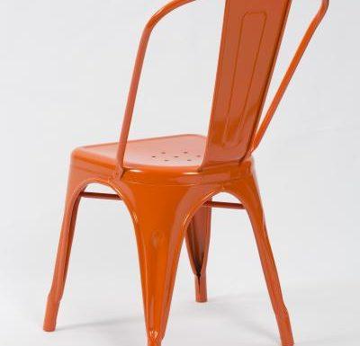 metal frame side chair orange rear view