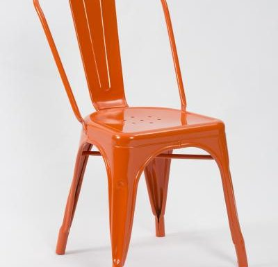 metal frame side chair orange front view
