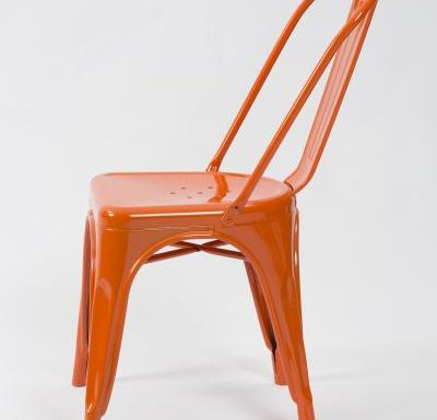metal frame side chair orange side view