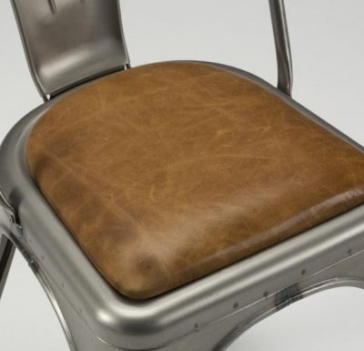 metal frame side chair close up upholstery