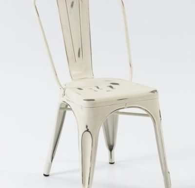 metal frame side chair white front view