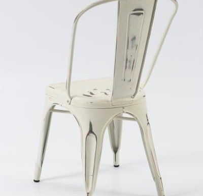 metal frame side chair white rear view
