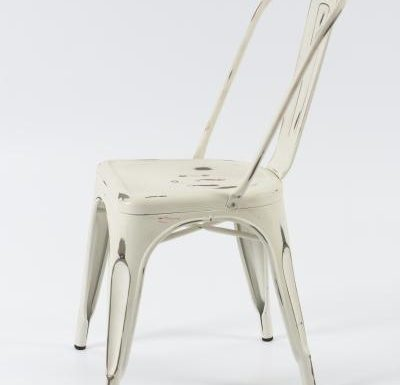 metal frame side chair white side view