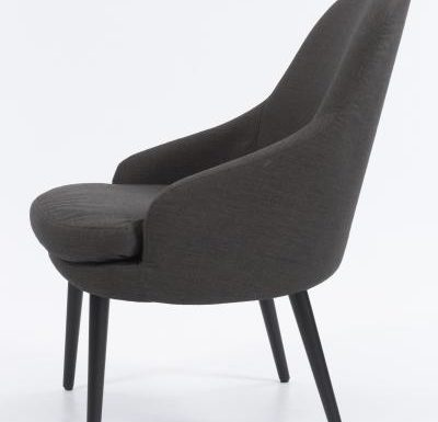 upholstered lounge or club chair with a curved back design 2