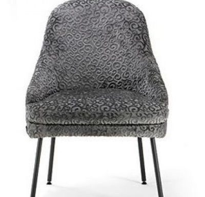 upholstered lounge or club chair with a curved back design 3